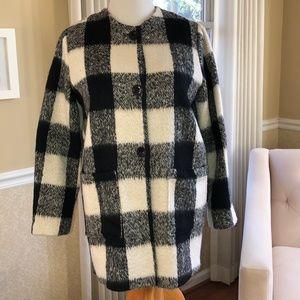 HAZEL Black White Checkered Women's Jacket Size M